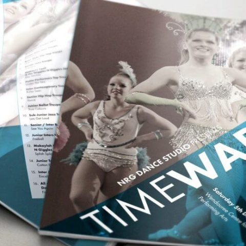 Double-E Design Portfolio - Time Warp concert program for NRG Dance Studio